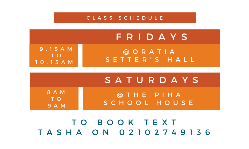 Yoga classes schedule for Piha and Oratia and West Auckland